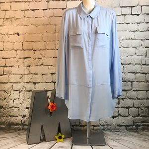 Chico's Sz 2 Light Blue Chiffon Blouse Long Sleeve